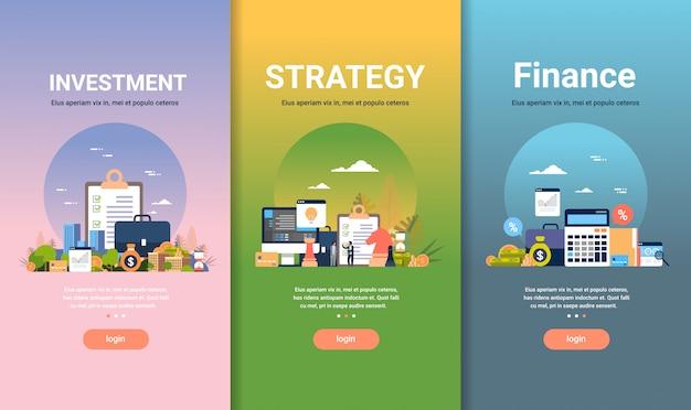 Szablon projektu sieci web zestaw strategii finansowania koncepcji inwestycyjnych różnych kolekcji biznesowych