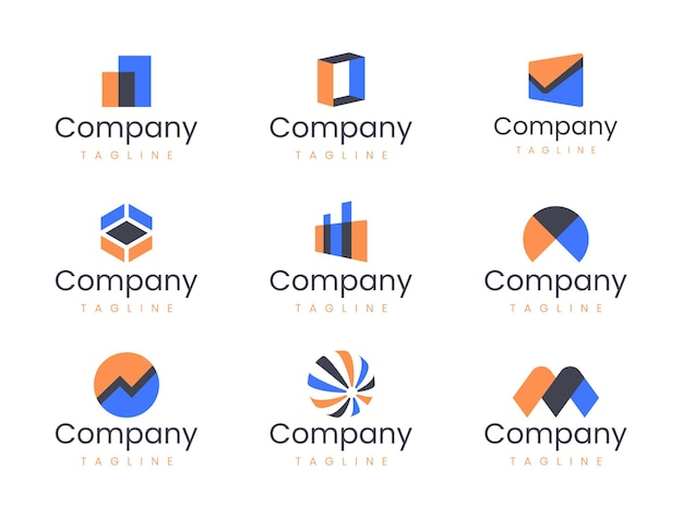 Szablon projektu streszczenie geometryczne logo. zestaw elementów graficznych, idealny dla start-upów technologicznych