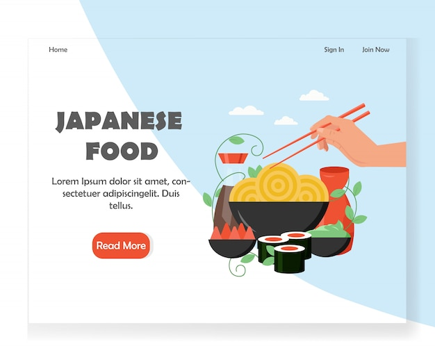 Szablon projektu strony docelowej japońskie jedzenie witryny