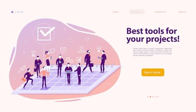 Szablon projektu strony internetowej dla złożonych rozwiązań biznesowych, wsparcia i konsultacji projektu, nowoczesnej technologii, usług, zarządzania czasem, planowania. wstęp. aplikacja mobilna. ilustracja koncepcja płaski