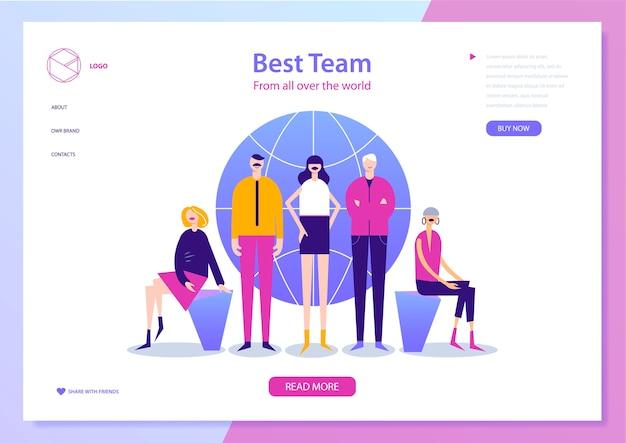 Szablon projektu strony internetowej do zarządzania projektami, komunikacji biznesowej, przepływu pracy i doradztwa. kreatywny zespół, koncepcja ilustracji ludzi