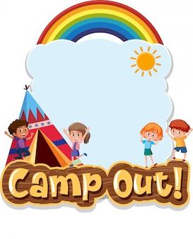 Szablon projektu tła z happy dzieci i namiot