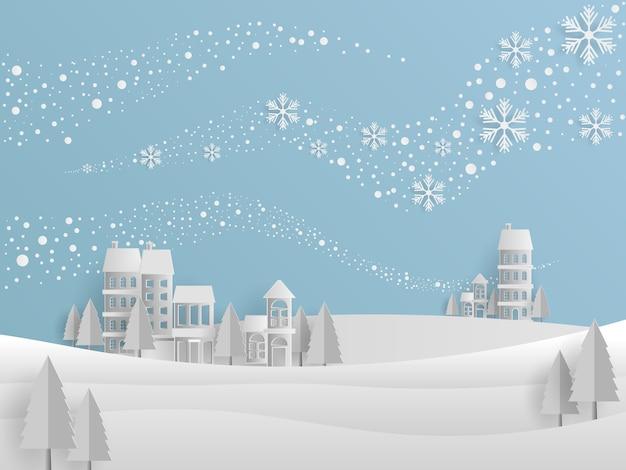 Szablon projektu tła zimowe, styl art papieru