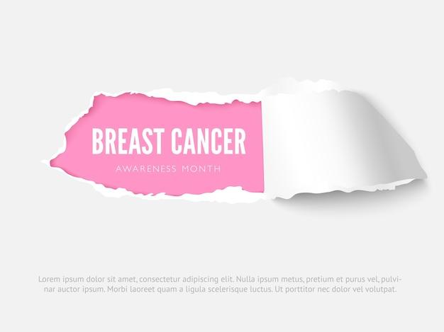 Szablon projektu transparent wektor miesiąca świadomości raka piersi. układ plakatu solidarności z chorobami onkologicznymi kobiet z efektem rozdartego papieru 3d. kobieca nadzieja realistyczna ilustracja i miejsce na tekst