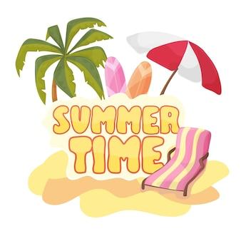 Szablon projektu transparentu tła czasu letniego i elementy sezonu znakowego na plaży