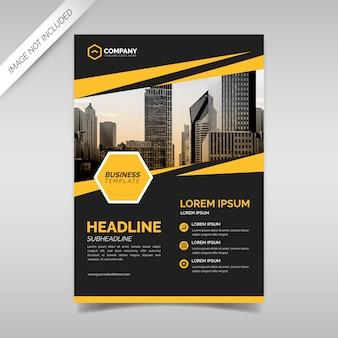 Szablon projektu ulotki czarny i żółty biznes
