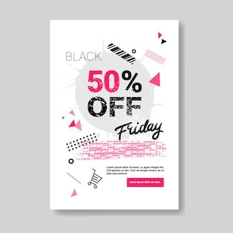 Szablon projektu ulotki czarny piątek dla broszury, ulotki, broszury, ulotki lub broszury