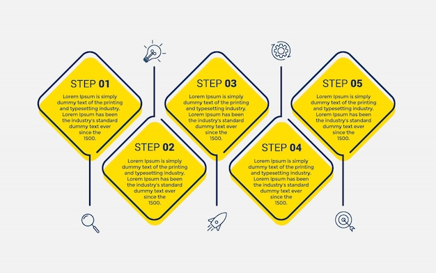 Szablon projektu wektor plansza z 5 opcji lub kroków