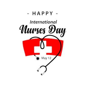 Szablon projektu wektor szczęśliwych międzynarodowych pielęgniarek