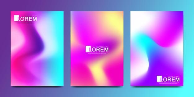 Szablon projektu wektor w modnych żywych kolorach gradientu z abstrakcyjnymi płynnymi kształtami