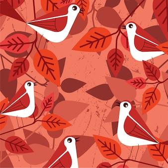 Szablon projektu wektor wzór liść czerwony ptak