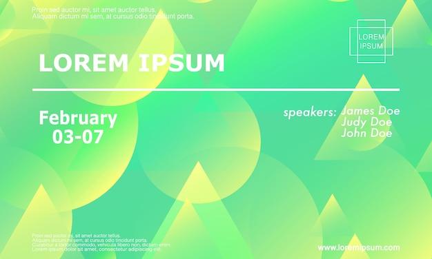 Szablon projektu zaproszenia na konferencję, układ ulotki. geometryczne tło. minimalny abstrakcyjny projekt okładki. kreatywne kolorowe tapety. modny plakat gradientowy. ilustracja wektorowa.
