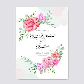 Szablon projektu zaproszenia ślubne akwarela
