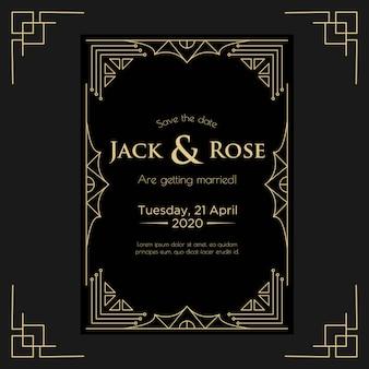 Szablon projektu zaproszenia ślubne w stylu art deco