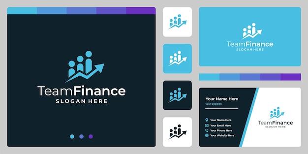 Szablon projektu zespołu logo wektor z logo inwestycji analitycznych wzrostu.