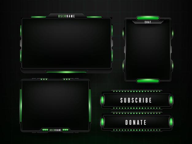 Szablon projektu zestaw zielony panel do gier