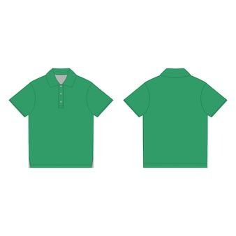 Szablon projektu zielona koszulka polo. przód i tył szkic techniczny koszulka polo unisex.