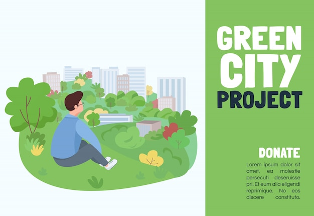 Szablon projektu zielone miasto. broszura, koncepcja plakatu z postaciami z kreskówek. miejskie wydarzenie ogrodnicze, budynki kształtujące poziomą ulotkę, ulotka z miejscem na tekst