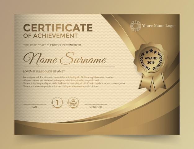 Szablon projektu złoty certyfikat premium.