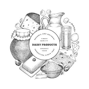 Szablon projektu żywności farmy. ręcznie rysowane ilustracja nabiał.