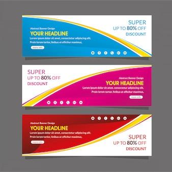 Szablon promocji banner internetowy super oferta sprzedaży z rabatem