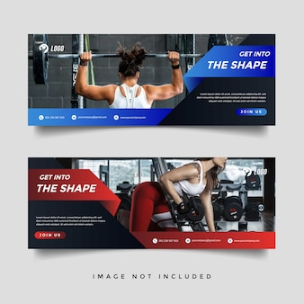 Szablon promocji banner siłowni i fitness