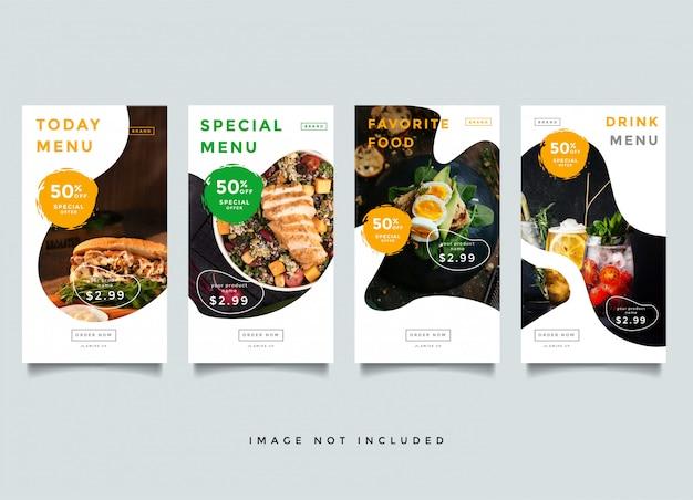 Szablon promocji historii kulinarnych i kulinarnych na instagramie