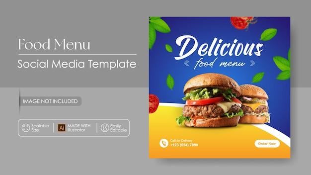 Szablon promocji mediów sosial food burger food i szablon projektu instagram