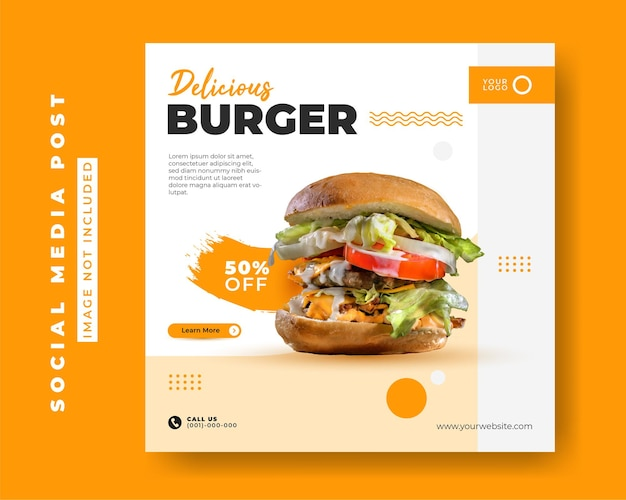 Szablon promocji menu social media instagram post banner