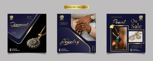 Szablon promocji postu na biżuterię, diament i perłę w mediach społecznościowych