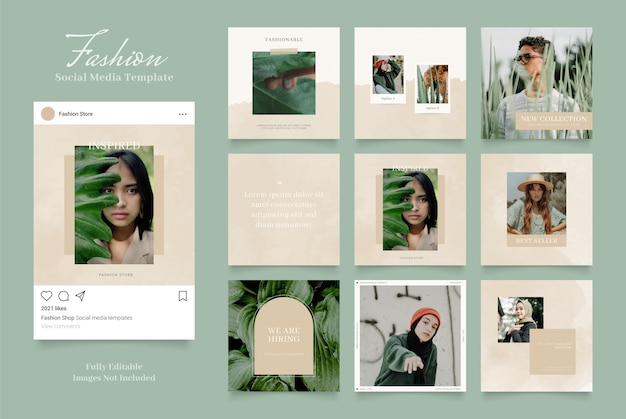 Szablon promocji sprzedaży mody w mediach społecznościowych. puzzle post frame brązowy akwarela