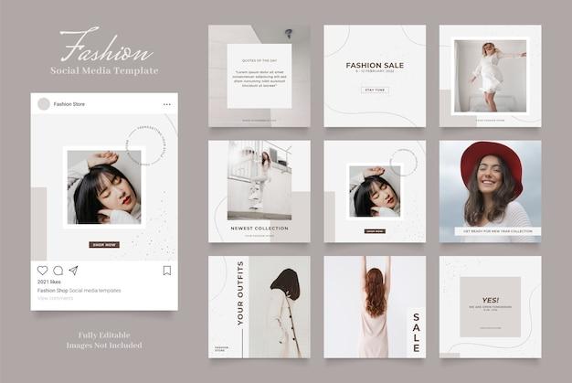 Szablon promocji sprzedaży mody w mediach społecznościowych. w pełni edytowalne instagram i facebook kwadratowa ramka do puzzli organiczna sprzedaż brązowy szary biały