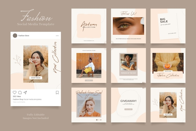 Szablon promocji sprzedaży mody w mediach społecznościowych. w pełni edytowalne instagram i facebook kwadratowa ramka puzzli sprzedaż organiczna brązowy beż
