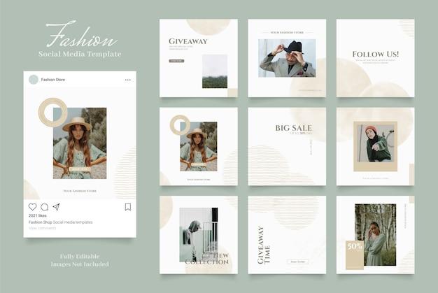 Szablon promocji sprzedaży mody w mediach społecznościowych. w pełni edytowalne instagram i facebook kwadratowy post frame puzzle sprzedaż organiczna białe zielone złoto