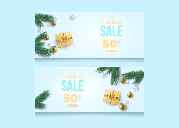 Szablon promocji transparent świątecznej sprzedaży.