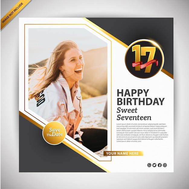 Szablon promocji transparent urodziny