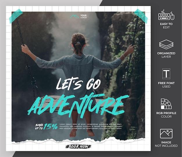 Szablon promocji w mediach społecznościowych. szablon postu podróżnego może być użyty do kanału i marketingu na instagramie
