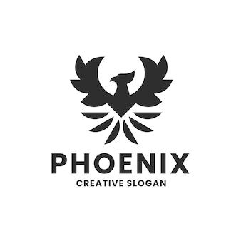 Szablon prostego nowoczesnego logo czarnego feniksa