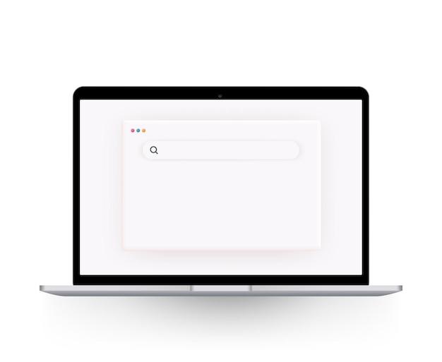 Szablon przeglądarki w jasnym motywie na stronę internetową, laptop i komputer.