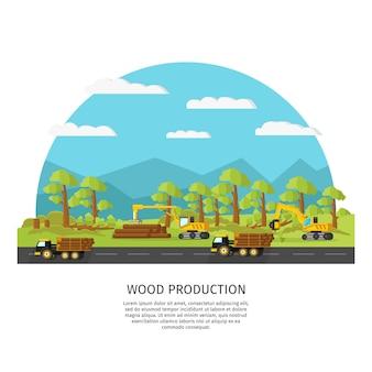 Szablon przemysłowej produkcji drewna