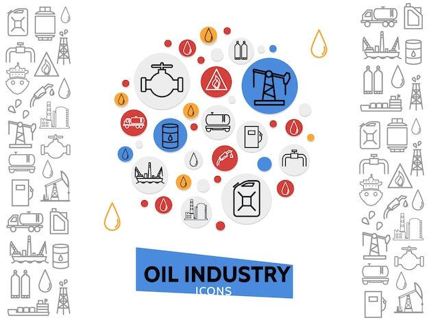 Szablon przemysłu naftowego z paliwami gazowymi i ikonami linii petrochemicznej w kolorowych kółkach na białym tle ilustracji