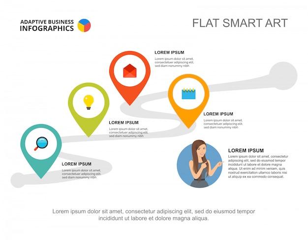 Szablon przepływu pracy z czterema elementami do prezentacji. wizualizacja danych biznesowych.