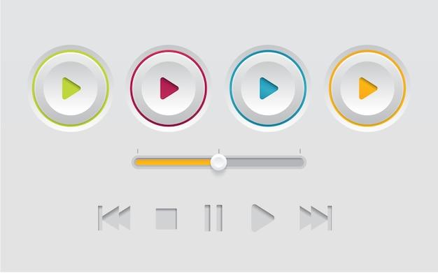 Szablon przycisku odtwarzania biały interfejs