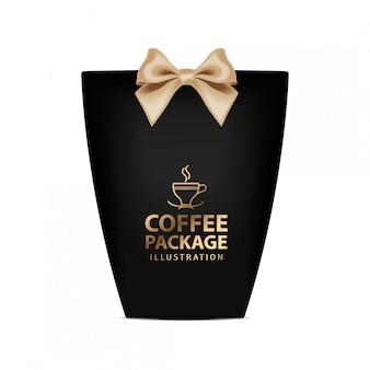 Szablon pudełko na kawę. realistyczny czarny pakiet ze złotą kokardką