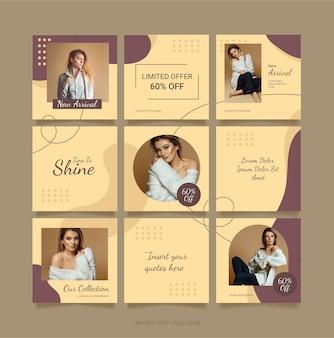 Szablon puzzle instagram feed moda kobiety. projektowanie mediów społecznościowych