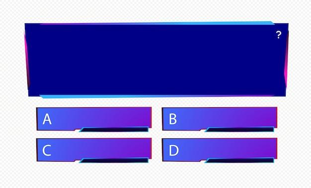 Szablon pytania i odpowiedzi w stylu neonowym dla quizu gry egzamin tv show szkolnego egzaminu wektor testowy