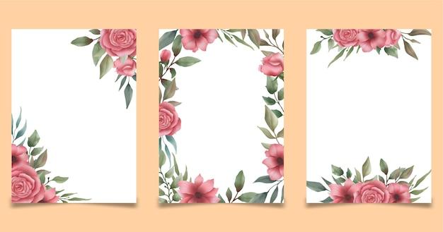Szablon ramki akwarela kwiatowy ślub