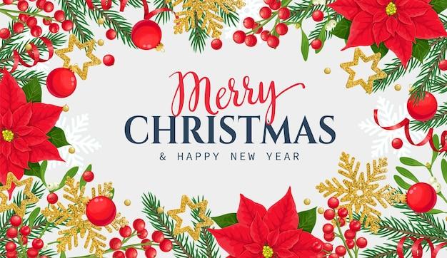 Szablon ramki bożonarodzeniowej z gałązkami świerku, gwiazdą betlejemską, płatkami śniegu, bombką i jagodami ostrokrzewu