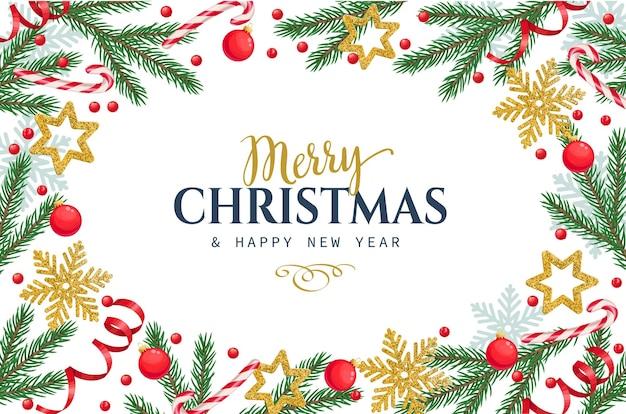 Szablon ramki bożonarodzeniowej z gałęziami świerkowymi, płatkami śniegu, bombką i jagodami ostrokrzewu.