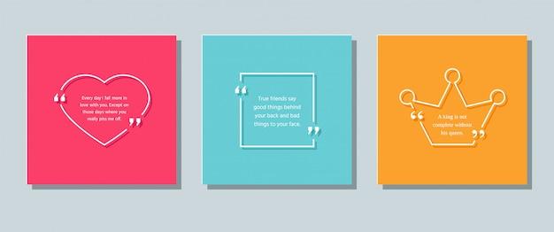 Szablon ramki cytatów. zestaw komentarzy i wiadomości informacyjnych w polach tekstowych. kolorowa ilustracja z sercem, kwadratem i koroną.